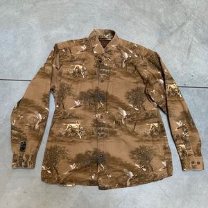 Vintage Shirt Casual Button Up Brown Ducks Dogs
